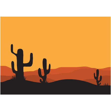 tree lined street: Silhouettes of cactus