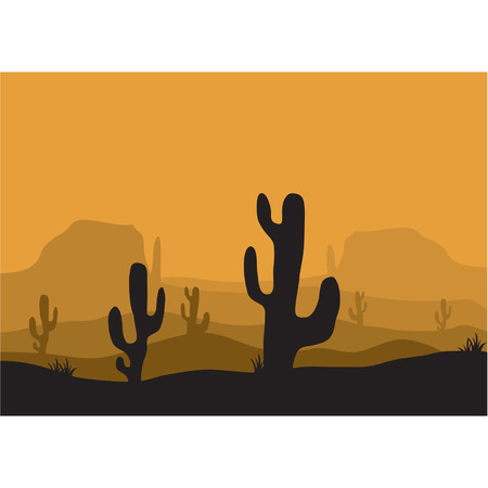 tree lined street: Silhouettes of cactus in the desert Illustration