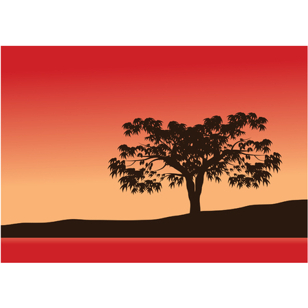 Silhouettes of single trees with red background Illustration