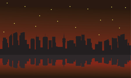 dawning: Silhouette of building and star with red background Illustration