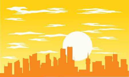 city of sunrise: Silhouette of building and sun with orange background