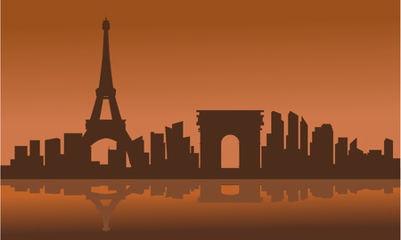 montmartre: Silhouette of farance city with brown background
