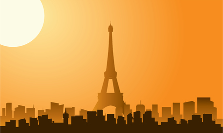 seine: Silhouette of eiffel tower with orange background Illustration