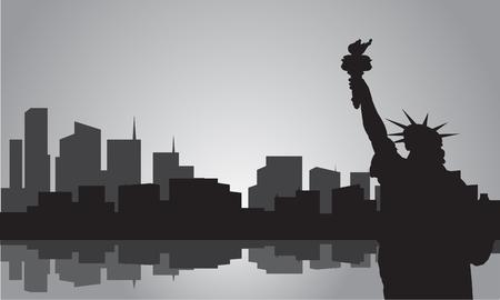 Silhouette der Statue der Freiheit mit grauer Farbe