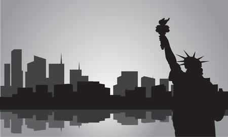 statue liberty: Silhouette of statue liberty with gray color Illustration