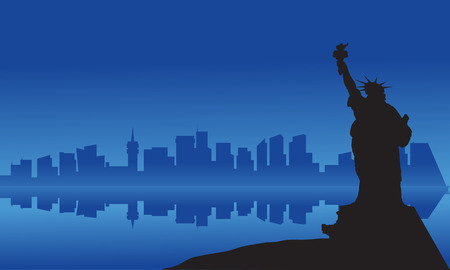 fool moon: Silhouette of statue liberty from sea at night Illustration