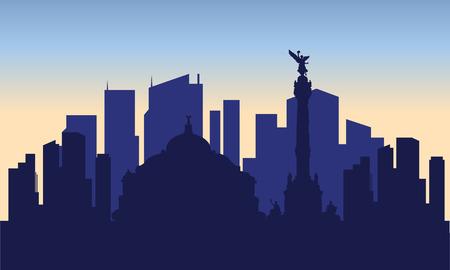 青い bakcground とメキシコシティのシルエット  イラスト・ベクター素材