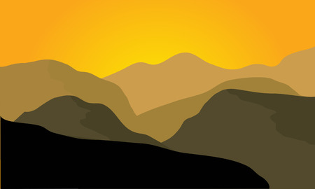 eagle canyon: Silhouette of desert landscape at the sunset Illustration