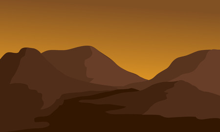 overlooking: Silhouette of mountain and river with brown background