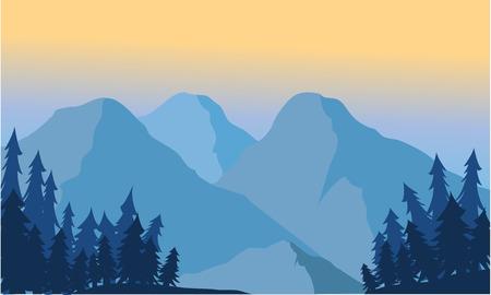 landschap: Uitzicht op de berg ijs en sparren bij zonsopgang Stock Illustratie