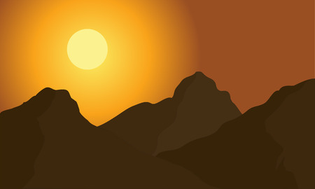 pink hills: Hight mountain of silhouette at the morning Illustration