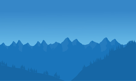 View of many mountain with blue background