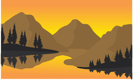 river rock: Silhouette of three moountain at the sunrise