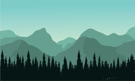 arbres silhouette: forêt de nuit avec sapins silhouettes et mouentain Illustration