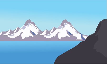 glacial: Mountain ice views in sea and blue sky