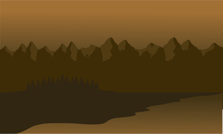 smoky mountains: Silhouette of mountain lined with brown background Illustration