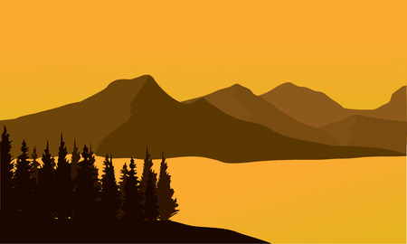 fir trees: Silhouette of mountain at sunset and river Illustration