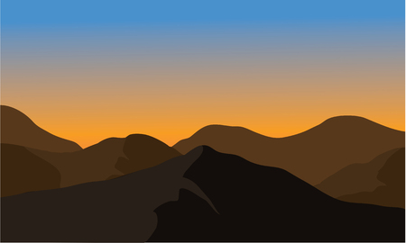 Silhouette of dry mountain with brown color