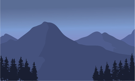 overlook: Silhouette of a tall mountain landscape and gray background Illustration