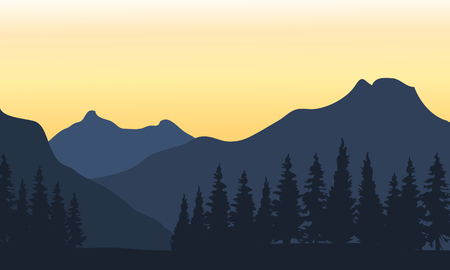 silhouette of mountain ad orange backgrounds