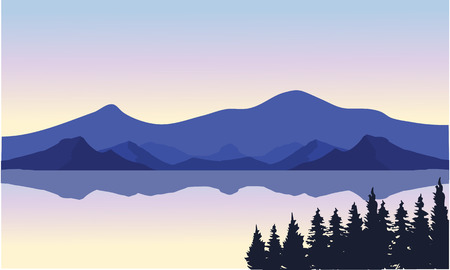 water weed: An illustration of a river and mountains at sunset