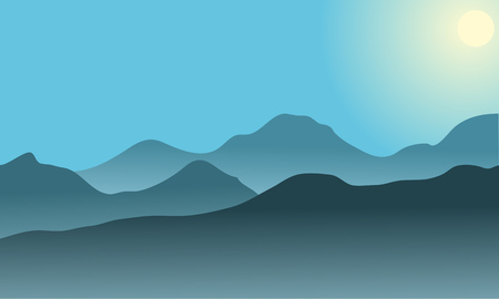 colorado rocky mountains: Silhouette of desert at sunrise with blue background