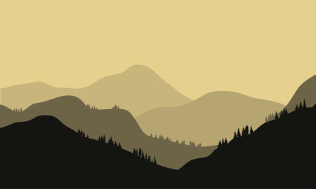 Beautiful Mountain And Sunset with gray background Illustration