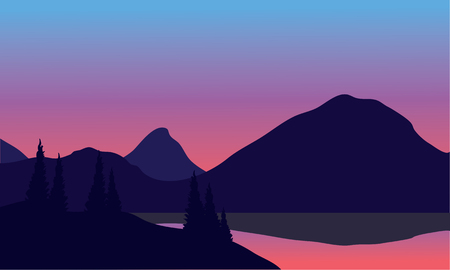 horizon over land: Silhouette of mountain by the lake at night