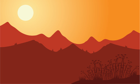noon: Silhouette of mountain with red background at noon Illustration
