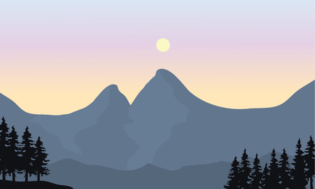 noon: Silhouette of mountain and sun at the noon Illustration