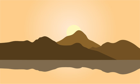 mountain view: View of brown mountain silhouette a beautiful Illustration