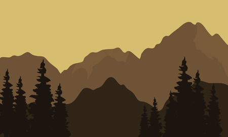 mountain view: View of mountain silhouette with brown background Illustration
