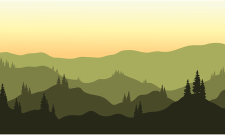 View of hills silhouette at the afternoon Illustration