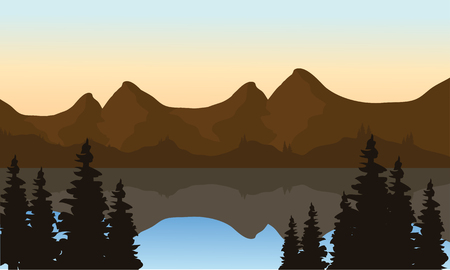 Landscape mountain on the lake at morning Illustration