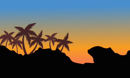 tropical beach panoramic: Silhouette of palm on the hills at afternoon