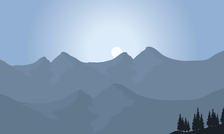 mountain view: View of mountain with moon with grray background Illustration
