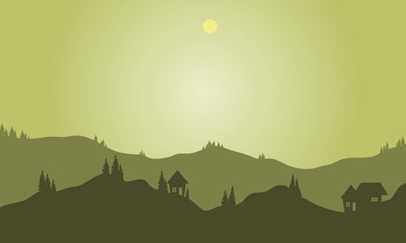 overlook: Silhouette of hills with green background at night Illustration