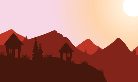 country house: Silhouette of home on the mountain at sunset Illustration