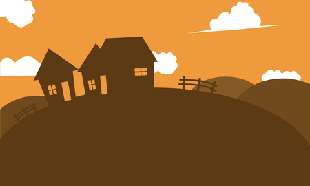 new year s day: Silhouette of house in hill at afternoon Illustration