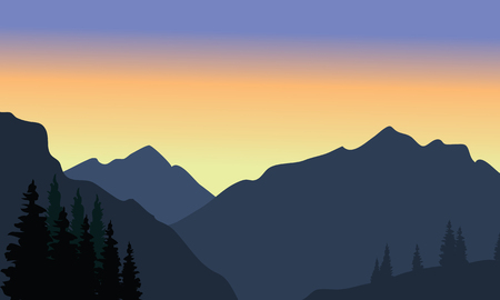 cliff edge: View of big mountain silhouette at the morning Illustration