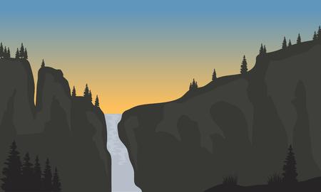 southamerica: Silhouette of waterfall at sunset a beautiful