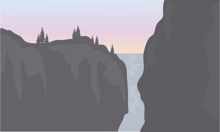 southamerica: Silhouette of waterfall with gray backgrounds at the sunset Illustration