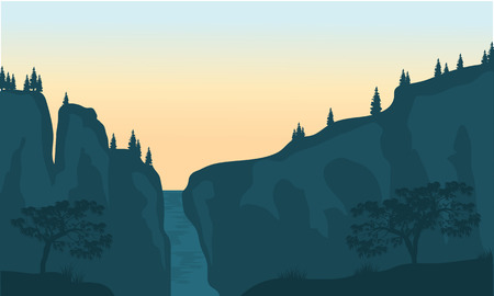 cascade mountains: View of waterfall silhouette at the sunrise