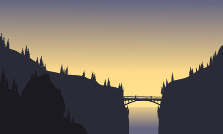 Silhouette of bridge connecting two cliffs at afternoon Illusztráció
