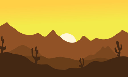 Silhouette of desert and cactus at the morning