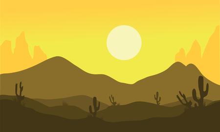 Silhouette of desert and cactus at noon 일러스트