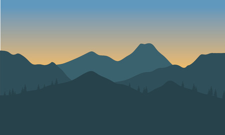 Silhouette of hills with gray background at morning  イラスト・ベクター素材