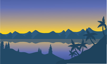oregon coast: Silhouette of beach and hills at sunset