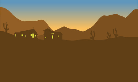 fishing village: View of house on the mountains of silhouette