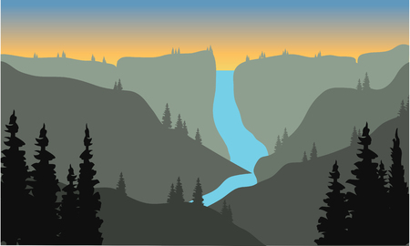 Silhouette of river from the top on the mountain at the afternoon Illustration